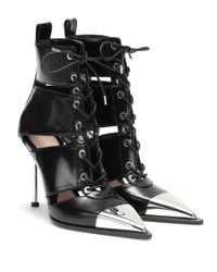 Alexander McQueen Black Ankle Boots aus Leder