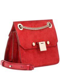Jimmy Choo Red Rebel Xb Suede Shoulder Bag