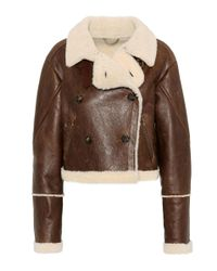 KENZO Brown Fur-trimmed Leather Jacket
