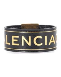 Balenciaga - Black Printed Leather Bracelet - Lyst