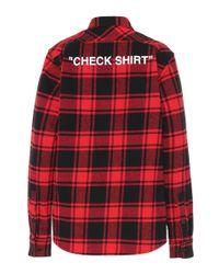 Camicia a quadri in cotone con stampa di Off-White c/o Virgil Abloh in Red