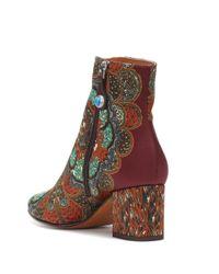 Etro Multicolor Ankle Boots aus Satin