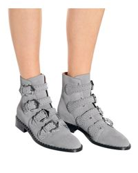 Givenchy Gray Ankle Boots aus Veloursleder