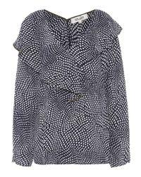 Blusa Easton Dot in seta a stampa di Diane von Furstenberg in Multicolor