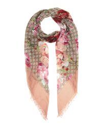 Gucci Pink Printed Silk-blend Scarf