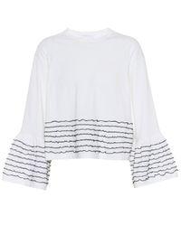 See By Chloé White Gestreiftes Top aus Baumwolle