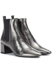 Saint Laurent Ankle Boots Loulou aus Metallic-Leder