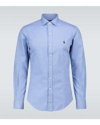 Polo Ralph Lauren Blue Long-sleeved Cotton Shirt for men
