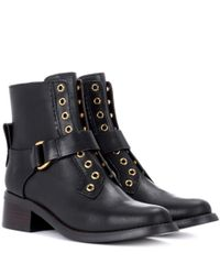 See By Chloé Black Embellished Leather Ankle Boots
