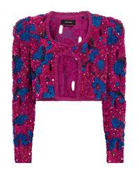 Veste Vifeli raccourcie en coton à sequins Isabel Marant en coloris Purple
