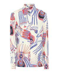Camicia a stampa in crêpe satin di Dries Van Noten in Blue
