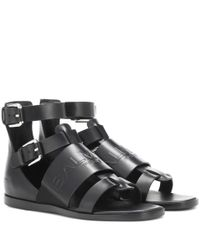 Balmain - Black Leather Sandals - Lyst