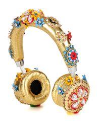 Esclusiva per mytheresa.com - Cuffie in pelle con cristalli di Dolce & Gabbana in Metallic