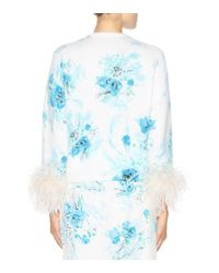 Prada Blue Exclusive To Mytheresa. Com – Feather-trimmed Printed Mohair And Wool Cardigan