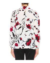 Top imprimé en soie mélangée Floral Abstractic Dorothee Schumacher en coloris Red