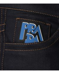 Jean droit en denim stretch Prada en coloris Blue