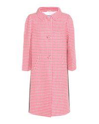 Prada - Pink Houndstooth Virgin Wool Coat - Lyst