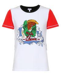 Loewe White T-Shirt aus Stretch-Baumwolle