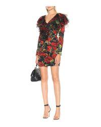 Dolce & Gabbana Multicolor Bedrucktes Minikleid aus Seide