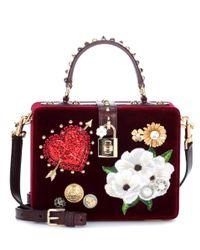 Dolce & Gabbana Red Dolce Box Velvet Shoulder Bag