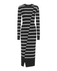 McQ Alexander McQueen Black Kleid mit Streifen aus Wolle