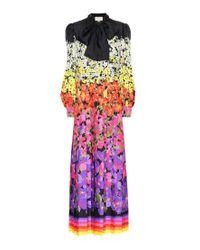 Abito a stampa floreale in seta di Gucci in Multicolor
