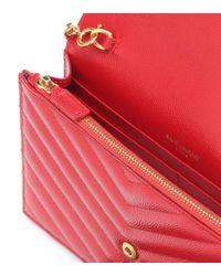 Clutch portafoglio Envelope Monogram in pelle di Saint Laurent in Red