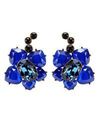 Oscar de la Renta - Blue Crystal Earrings - Lyst