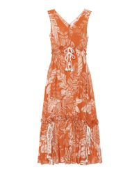 See By Chloé Brown Sleeveless Printed Cotton Dress