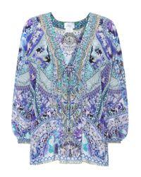 Camilla Blue Embroidered Silk Top