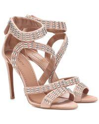 Alaïa Pink Embellished Suede Sandals