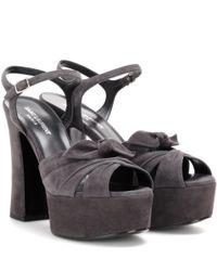 Saint Laurent - Gray Candy Suede Platform Sandals - Lyst