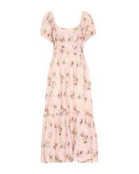 Vestido Angie de lino floral LoveShackFancy de color Pink