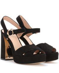 Tory Burch Black Loretta Suede Sandals