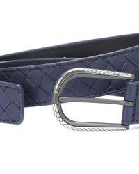 Bottega Veneta - Blue Intrecciato Leather Belt - Lyst