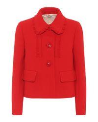 Veste en crêpe de laine Miu Miu en coloris Red
