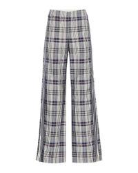 Pantalon évasé en coton mélangé à carreaux Monse en coloris Multicolor