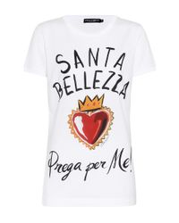 Dolce & Gabbana White Printed Cotton T-shirt