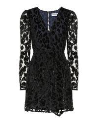 Self-Portrait Black Kleid mit Leoparden-Print