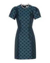 Mary Katrantzou Blue Kleid Azurite mit Verzierungen