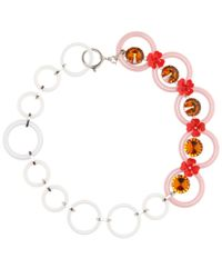 Marni - Pink Embellished Floral Necklace - Lyst
