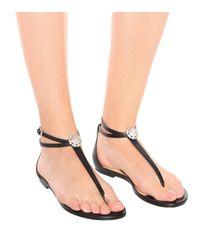 Sandales en cuir à ornements Afia Flat Jimmy Choo en coloris Black