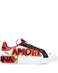 Sneakers Portofino in pelle con decori di Dolce & Gabbana in Red
