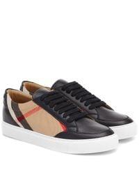 Burberry Black Sneakers Salmond mit Leder
