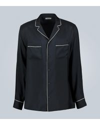 Valentino Blue Silk Shirt With Piping