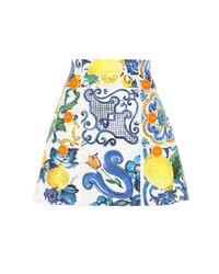 293eac6b1e84 Dolce   Gabbana Printed Cotton And Silk Miniskirt in Blue - Lyst