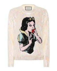Gucci Natural Snow White Sequinned Wool Sweater