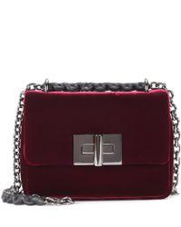Tom Ford Red Natalia Small Velvet Shoulder Bag