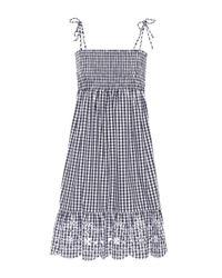 Tory Burch Blue Kariertes Minikleid aus Baumwolle