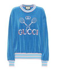 Gucci Blue Bestickter Pullover aus Samt